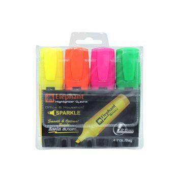 (1Free1) ปากกาเน้นข้อความ Sparkle ตราช้าง แพ็ค 4 สี (คละสี)