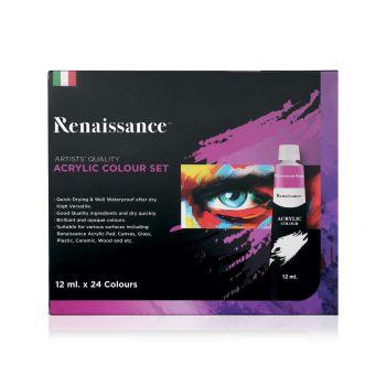 สีอะคริลิค Renaissance ชุด 24 สี 12 มล.