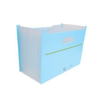 กล่องเอกสารขยายฐาน 13 ช่อง ตราช้าง รุ่น 01-EB สีฟ้า