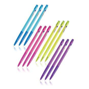 Set : Quantum ปากกาเจล ชาร์ป น้ำเงินคละสี จำนวน 1 โหล