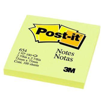 กระดาษโน้ต Post-it ขนาด 3x3 นิ้ว สีเหลือง #654