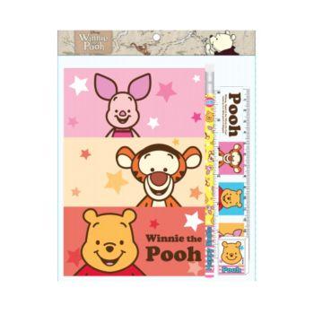 ชุดเซ็ทเครื่องเขียน Pooh - 020 (สมุด, ดินสอไม้x1, ยางลบดินสอ, ไม้บรรทัด15cm)