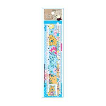 ชุดเซ็ทดินสอ Pooh - 074 สีฟ้า (ดินสอไม้x1, ยางลบดินสอ, ไม้รรทัด)