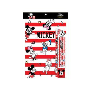ชุดเซ็ทเครื่องเขียน Mickey Mouse - 020 (สมุด, ดินสอไม้x1, ยางลบดินสอ, ไม้บรรทัด)