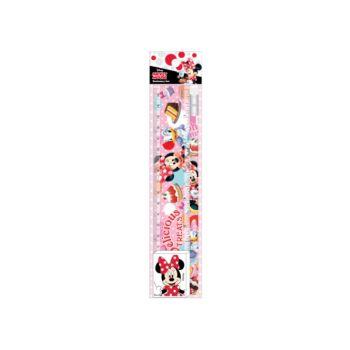ชุดเซ็ทดินสอ Mickey Mouse - 074 สีชมพู (ดินสอไม้x1, ยางลบดินสอ, ไม้รรทัด)