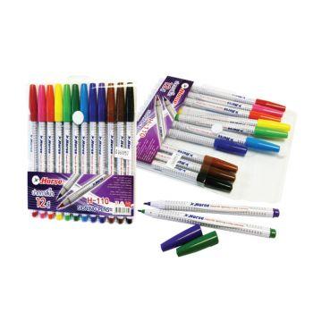 ปากกาสีเมจิกชุด 12 สีตราม้า รุ่น H-110 (ลายริ้วใหม่)