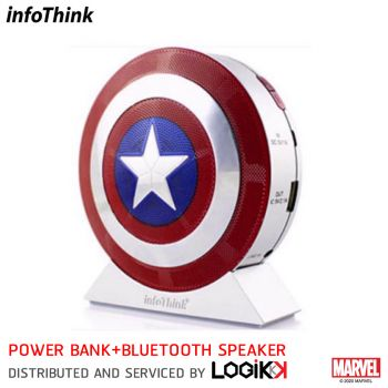 แบตเตอรี่สำรอง Power Bank พร้อม Bluetooth Speakerและ ไฟฉาย Infothink ลาย Captain America (ลิขสิทธิ์แท้)