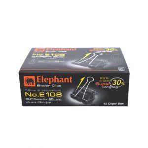 คลิปดำ ตราช้าง รุ่น E108 50มม. (12 ตัว/กล่อง)