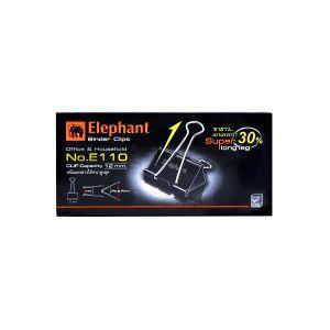คลิปดำ ตราช้าง รุ่น E110 32มม. (12 ตัว/กล่อง)