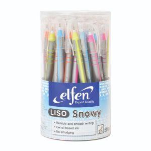 ปากกาลูกลื่น เอลเฟ่น Liso Snowy หมึกน้ำเงิน (คละสี) (กระบอก 50 แท่ง)