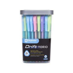 ปากกาลูกลื่น ตราช้าง Drift Torio หมึกน้ำเงิน (คละสี) (กระบอก 50 ด้าม)