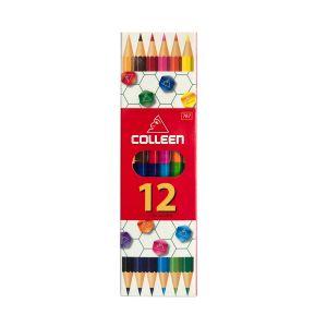 สีไม้ Colleen 2 หัว 6 แท่ง 12 สี กล่องกระดาษ