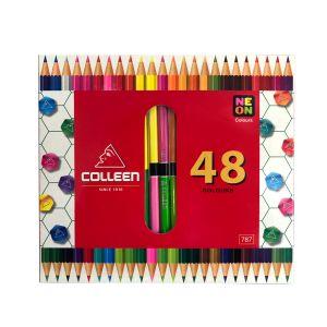 สีไม้ Colleen 2 หัว 24 แท่ง 48 สี กล่องกระดาษ