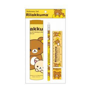 ชุดเซ็ทเครื่องเขียน Rilakkuma - 018 (กระบอกใส่ดินสอ, ดินสอไม้x1, ยางลบดินสอ, ไม้บรรทัด 15cm)
