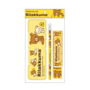 ชุดเซ็ทเครื่องเขียน Rilakkuma - 019 (กล่องดินสอ, ดินสอไม้x1, ยางลบดินสอ, ไม้บรรทัด15cm)