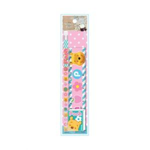 ชุดเซ็ทดินสอ Pooh - 074 สีชมพู (ดินสอไม้x1, ยางลบดินสอ, ไม้รรทัด)