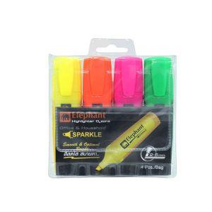 (Clearance) ปากกาเน้นข้อความ ตราช้าง Sparkle คละ 4 สี (SD206918)